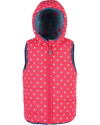 Frugi Explorer Reversible Padded Gilet, Owl Forest - Recycled polyester Cardigans