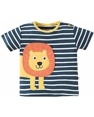 Frugi Felix Wrap Around T-Shirt , Soft Navy Breton/Lion  - 100% organic cotton Evening Tops