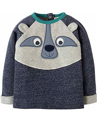 Frugi Forest Friend Long Sleeves Raglan Top, Indigo Terry/Raccoon - Organic cotton Long Sleeves Tops