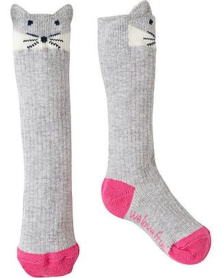 Frugi Friendly Face Socks, Grey Marl/Artic Fox - Organic cotton Socks
