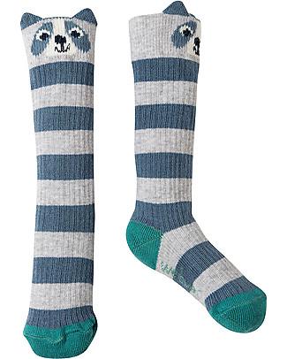 Frugi Friendly Face Socks, Grey Marl/Raccoon - Organic cotton Socks