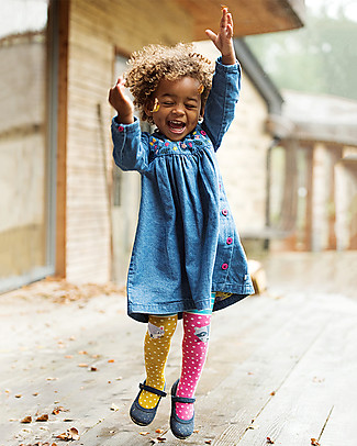 Frugi Fun Knee Tights, Hotchpotch/Character Knees - Organic cotton Tights