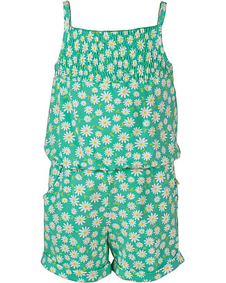 Frugi Girl's Playsuit, Green/Flowers – Elasticated organic cotton Rompers