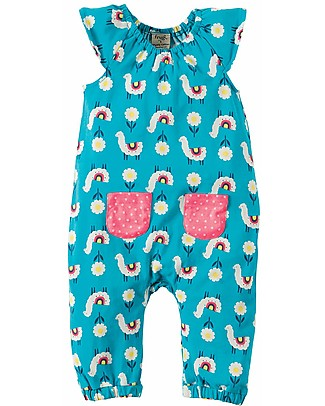 Frugi Girl's Playsuit, Light Blue/Lama - Elasticated organic cotton Rompers