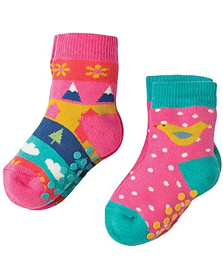 Frugi Grippy Baby Socks 2 Pack, Bird Multipack - Ideal for first steps! Socks