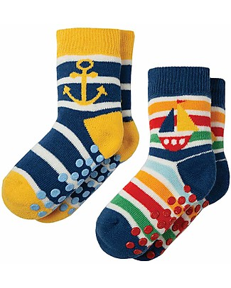 Frugi Grippy Baby Socks 2 Pack, Boat Multipack - Ideal for first steps! Socks