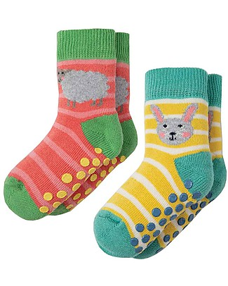 Frugi Grippy Baby Socks 2 Pack, Bunny Multipack - Ideal for first steps! null