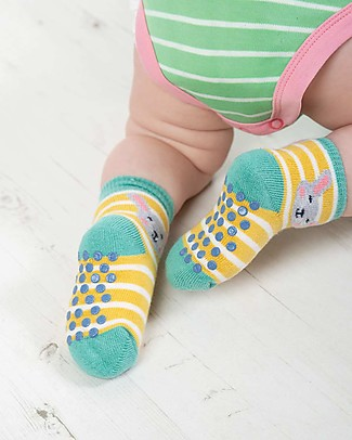 Frugi Grippy Baby Socks 2 Pack, Bunny Multipack - Ideal for first steps! Socks