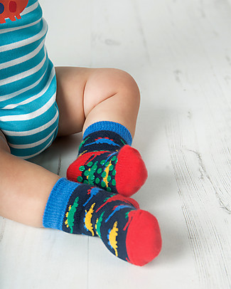 Frugi Grippy Baby Socks 2 Pack, Dino Multipack - Ideal for first steps! Socks