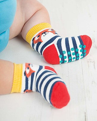 Frugi Grippy Baby Socks 2 Pack, Otter Multipack - Ideal for first steps! Socks