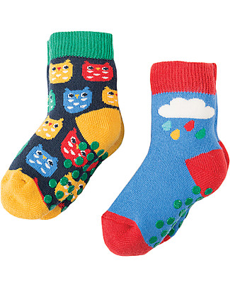 Frugi Grippy Baby Socks 2 Pack, Owl Multipack - Ideal for first steps! Socks