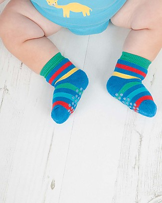 Frugi Grippy Baby Socks 2 Pack, Rainbow Multipack - Ideal for first steps! Socks
