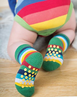 Frugi Grippy Baby Socks 2 Pack, Viking Boat Multipack - Ideal for first steps! Socks