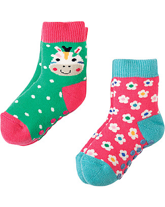 Frugi Grippy Baby Socks 2 Pack, Zebra Multipack - Ideal for first steps! Socks