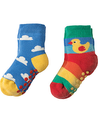 Frugi Grippy Socks 2 Pack, Duck Multipack - Ideal for first steps! Socks
