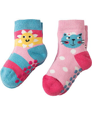 Frugi Grippy Socks 2 Pack, Kitty Multipack - Ideal for first steps! Socks