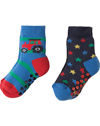 Frugi Grippy Socks 2 Pack, Tractor Multipack - Ideal for first steps! Socks