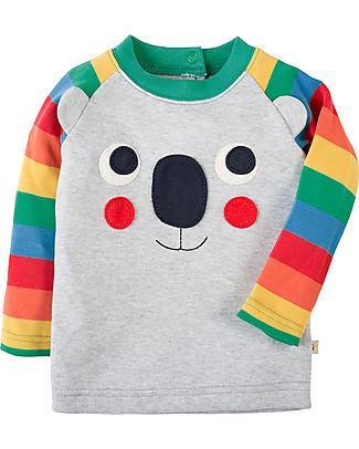 Frugi Happy Raglan Sleeved Top, Grey/Koala - 100% organic cotton Long Sleeves Tops