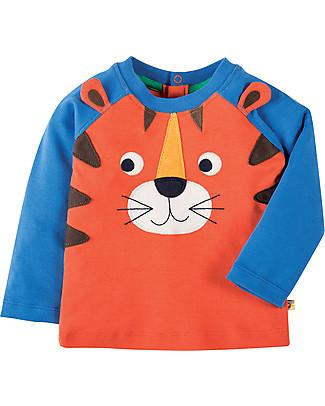 Frugi Happy Raglan Sleeved Top, Warm Orange/Tiger - 100% organic cotton Long Sleeves Tops