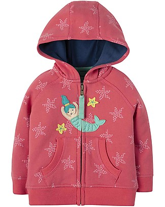 Frugi Hayle Hoody, Coral Starfish Spot/Mermaid - 100% organic cotton Sweatshirts