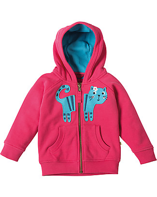 Frugi Hayle Hoody, Raspberry/Cat - 100% organic cotton Sweatshirts