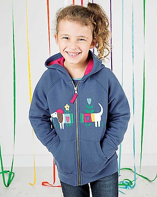 Frugi Heather Hoody, Blue Lake/Dog - 100% organic cotton Sweatshirts