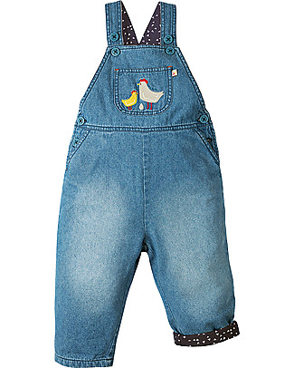 Frugi Hopscotch Dungaree, Chambray/Chickens - Organic Cotton Dungarees