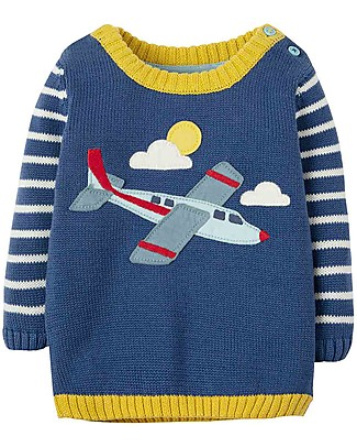 Frugi Jack Knitted Jumper, Marine Blue/Planes - 100% organic cotton Jumpers