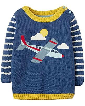 Frugi Jack Knitted Jumper, Marine Blue/Planes - 100% organic cotton Jumpers