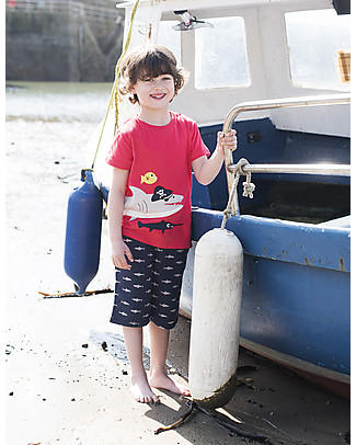 Frugi James Applique T-shirt - Tomato/Shark - 100% organic cotton T-Shirts And Vests