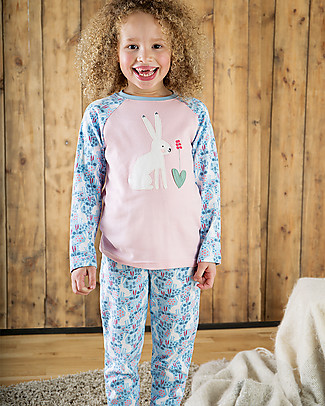 Frugi Jamie Jim Jams, Sky Blue Artic Hares/Hare - 100% organic cotton Pyjamas