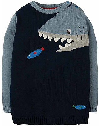 Frugi Jasper Character Jumper, Navy/Shark - 100% organic cotton Jumpers