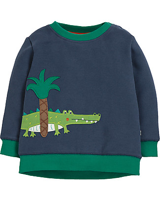 Frugi Jump About Jumper, Space Blue/Crocodile - organic cotton Sweatshirts