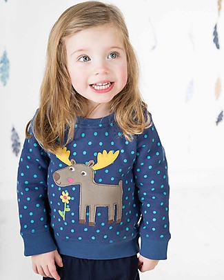 Frugi Jump About Jumper, True Blue Hail/Moose - organic cotton Sweatshirts