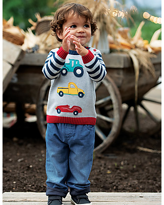 Frugi Kal Knitted Jumper, Grey Marl/Transport - 100% organic cotton Jumpers