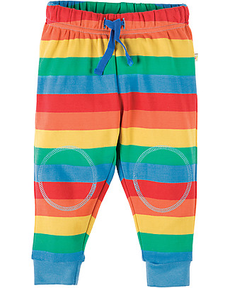 Frugi Kneepatch Crawlers, Rainbow Stripes - 100% organic cotton Trousers