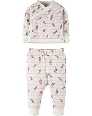 Frugi Kynance Kimono Outfit, 2 Pieces - Seahorse Stripe - 100% Organic cotton Sets And Co-Ords