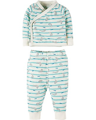 Frugi Kynance Kimono Outfit, 2 Pieces - Seal Stripe - 100% Organic cotton Sets And Co-Ords
