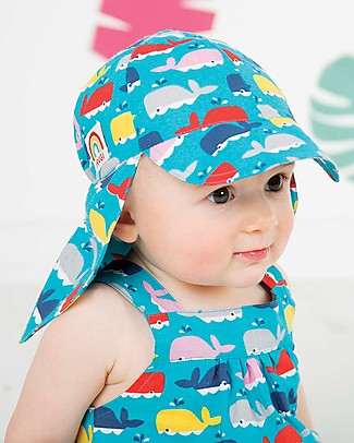 Frugi Legionnaires Hat, A Whale Of A Time - Cambric Cotton Hats
