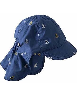 Frugi Legionnaires Hat, Marine Blue Anchors - 100% Organic Cotton Hats