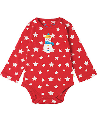 Frugi Lerryn Long Sleeved Bodysuit,Tomato Twinkle Stars and Snowman - 100% Organic Cotton Long Sleeves Bodies