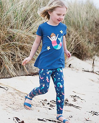 Frugi Libby Printed Leggings, Marine Blue Mermaid Magic - Elasticated organic cotton Leggings