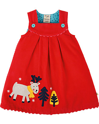 Frugi Lily Cord Dress, Tomato/Reindeer - 100% organic cotton Dresses