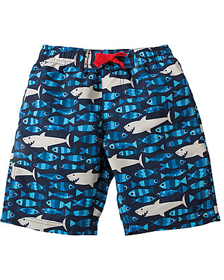 Frugi Little Board Shorts, Sneaky Sharks - 100% recycled Swimming Trunks