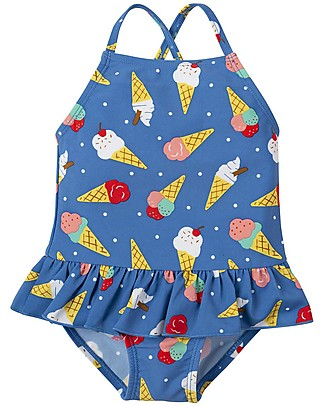 Frugi Little Coral Swimsuit,  Ice Cream Dream - UPF 50+ Swimsuits