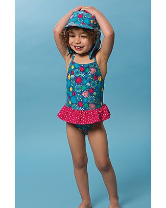 Frugi Little Coral Swimsuit,  Jungle Jamboree - UPF 50+ Swimsuits