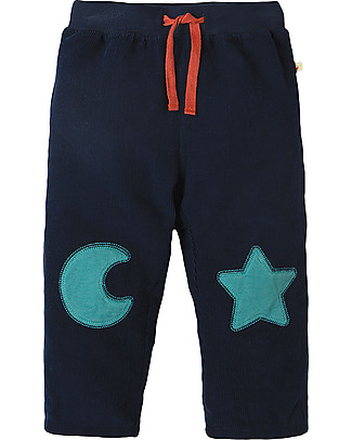Frugi Little Cord Patch Trouser, Navy/Moon & Star - 100% organic cotton Trousers