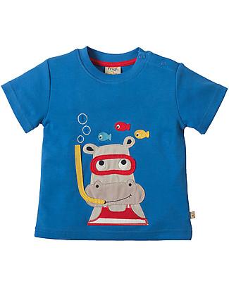 Frugi Little Creature Applique T-shirt, Sail/Hippo - 100% organic cotton T-Shirts And Vests
