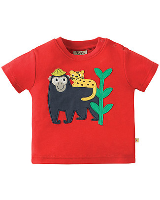 Frugi Little Creature Applique T-shirt, Tomato/Monkey - 100% organic cotton Evening Tops