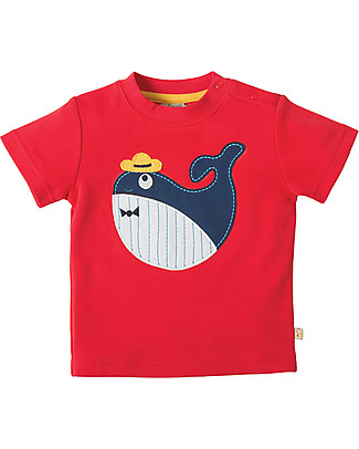 Frugi Little Creature Applique T-shirt, Tomato/Whale - 100% organic cotton T-Shirts And Vests